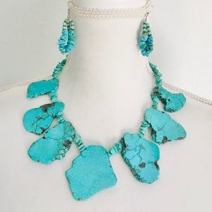 Genuine Turquoise   Chunky Pebbles Necklace set